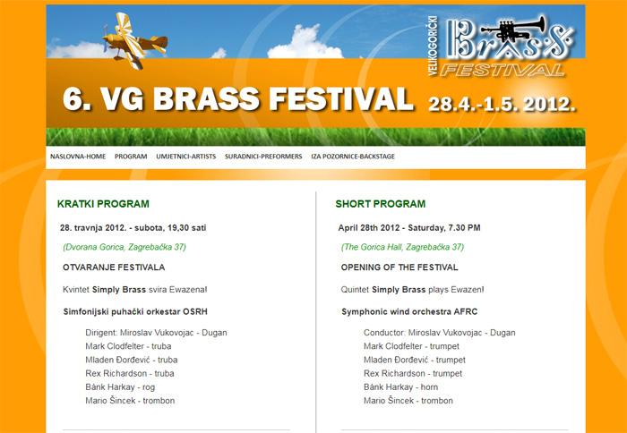 Web page VG BRASS Festival